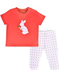 FLYBEES Baby Unisex T-shirt & Pant Set, Extra soft to keep Baby Warm & Cosy – 100% Tested Cotton, Tomato Red & White, Allover Printed Pant - Comfort Fit, 3 months to 3 years