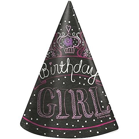 Ênicos fiesta de cumpleaños de chicas sombreros del partido (paquete de 8)
