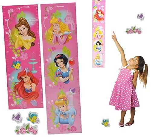 3-D Meßlatte Disney Princess - Wandtattoo selbstklebend mit 3 Sticker - wasserfest - Messlatte Prinzessin Kinderzimmer Wandsticker Aufkleber Pop-Up (Disney Princess Kronen)