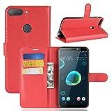 MaxKu HTC Desire 12+ / Desire 12 Plus Hülle, Premium PU Leder Mappen Kasten für HTC Desire 12+ / Desire 12 Plus Smartphone, Rot