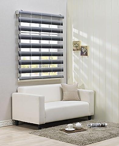 Custom Cut to Size , [Winsharp Combi Carmen , Black , W 240 x H 240 (Cm)] Roller Zebra Fabric Shade Horizontal Window Blinds & Treatments , Maximum 240 Cm Wide by 240 Cm Long