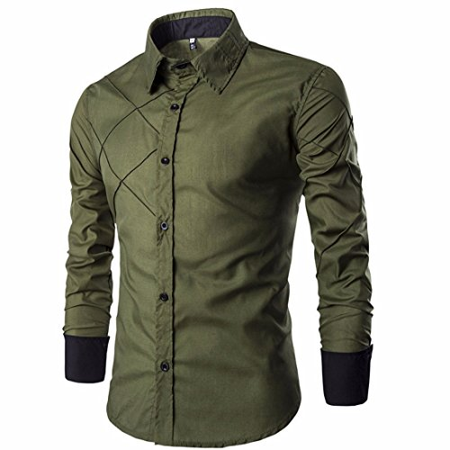 Men's Striped Turn Down Collar Long Sleeve Casual Shirts Army Green