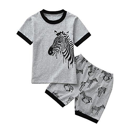 bobo4818 Jungen Kurze Pyjamas Sets Kids Digger Pjs für Jungen Kurzarm Nachtwäsche Nachtwäsche Sommer 2 Stück Outfits Alter 1-7 Jahre (Height:125-130CM, Gray-3) -