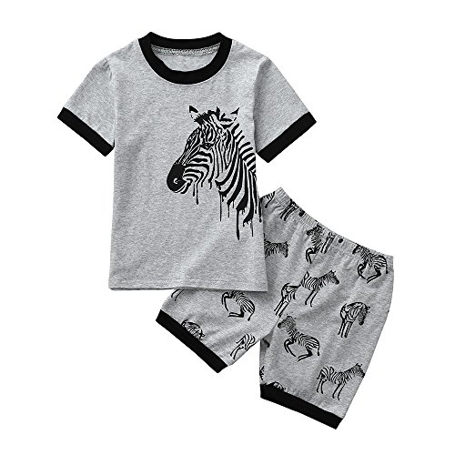 bobo4818 Jungen Kurze Pyjamas Sets Kids Digger Pjs für Jungen Kurzarm Nachtwäsche Nachtwäsche Sommer 2 Stück Outfits Alter 1-7 Jahre (Height:125-130CM, Gray-3) - Kurze Pyjamas Pjs