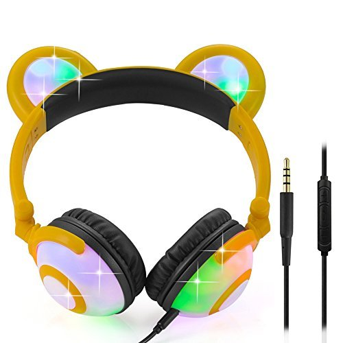 Wired Bear Ear Headphones with Glowing Lights and Mic (Yellow) 51K  2Byt7bEL