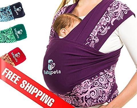 Halten sie ihr Kleinkind ruhig & bleiben sie dabei freihändig - stylisches multifunktionales Babytragetuch - Baumwoll Tragetuch für Neugeborene und Kleinkinder - Tragetasche inklusive - LILA - First Day Cover Jersey