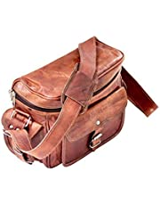 pranjals house Leather Brown Padded Camera Bag with Lens Partition (Brown 3)
