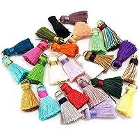 100 unidades de mini borlas de seda, hechas a mano, pequeñas y suaves, borlas coloridas, borlas para pendientes, colores surtidos al azar