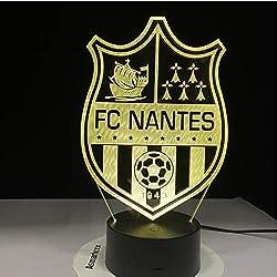 Équipe de France FC Nantes Football Club Veilleuse 3D LED Illusion Lampe de table Couleurs Changer Lumières Luminaria Rapide