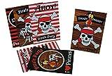 Unbekannt 6 tlg. Set Einladungskarten Pirat Piratenparty - Party Einladung Karte Totenkopf für Jungen Schatzsuche