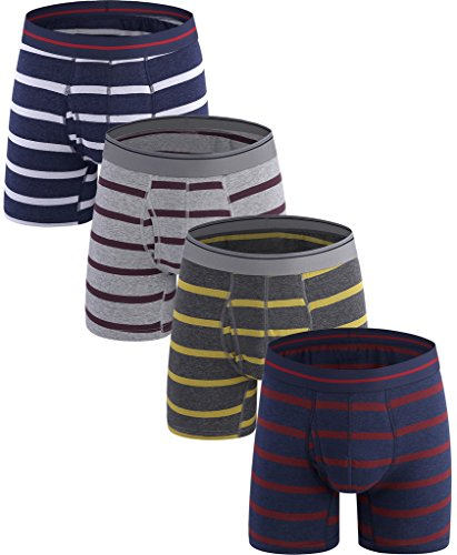 Emil Komfort Stripe Boxer Briefs Baumwolle Bunte Herren Unterwäsche Small 4-packs (Bikini Exofficio Brief)