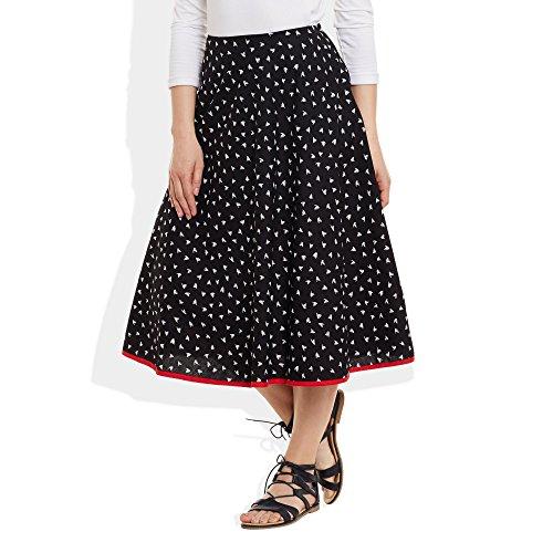 Damen Bekleidung Baumwolle gedruckt mittellanger Rock a-Linie Schwarz