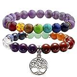 Jovivi - Juego de pulseras elásticas para yoga, meditación, equilibrio de la curación, 2 piezas, 7 chakras, con caja de regalo