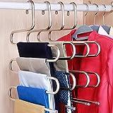 Doiown Hosen-Kleiderbügel, platzsparend, S-förmig, Edelstahl, für Hosen, Jeans, Schal, zum Aufhängen 2Teile