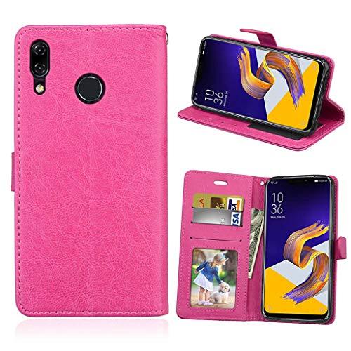 Asus Zenfone 5 2018 Hülle, SATURCASE Luxus Glatt PU Lederhülle Magnetverschluss Brieftasche Standfunktion Handy Tasche Schutzhülle Handyhülle Hülle für Asus Zenfone 5 ZE620KL/Zenfone 5z ZS620KL (Rose)