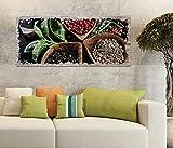 Holzbild 100x40cm Kräuter Gewürze Pfeffer Chili Küche Druck auf Holz Holzbilder Vintage Bild UV Foto Wandbild Wandbilder W0596, Holz Gr 1:100x40 cm