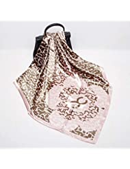 Hmeili Bufanda Simulación Pañuelos De Seda Mujer 90 Cm Satén Toalla Cuadrada Grande Estampado De Flores