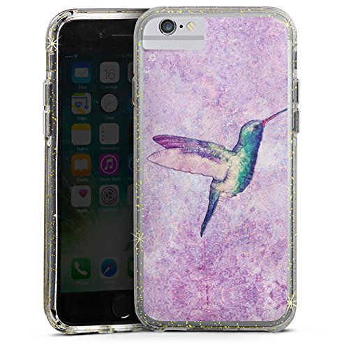 Apple iPhone 6s Plus Bumper Hülle Bumper Case Glitzer Hülle Kolibri Bird Vogel Bumper Case Glitzer gold