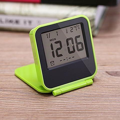 zusammenklappbar Wecker Tragbar Ultra Slim Design Reise Tabletop Digital Wecker mit temperaturanzeige Kalender Datum Woche grün
