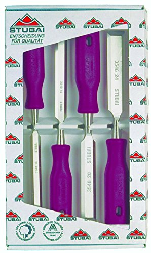 Stubai 9002793305103 Pack de 4 piezas de formón (mango de plástico) rosso mediano Set