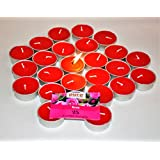 Pure Source India Scented Tea Light Candle (Red Rose) Smokeless Candles Made In India (25 Pcs Candles)
