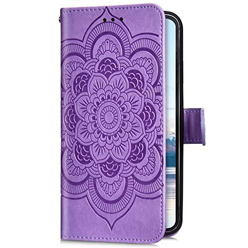 Uposao Kompatibel mit iPhone 8 Plus/IPhone 7 Plus 5.5 Handyhülle Mandala Blumen Muster Handy Schutzhülle Ledertasche Flip Case Handytasche Wallet Hülle Bookstyle Klappbar Lederhülle Magnetisch,Lila