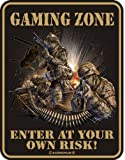 Blech-Schild Spruch Gaming Zone Enter at own risk