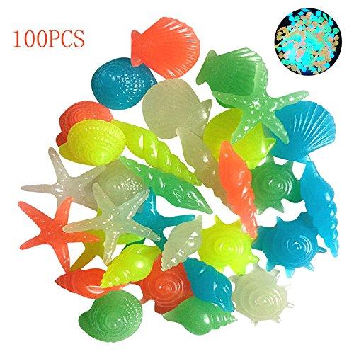 100 stücke leucht steine ??glühen steine ??bunte dekorative starfish muschel shell leuchten in der dunklen landschaft steine ??nachtleuchtende kopfsteinpflaster für aquarium aquarium vase dekoration