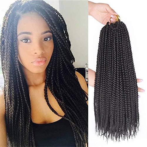 YUI 6 Packs/Lot Zöpfe Häkeln Haarverlängerungen 3X Synthetik Flechten Haar Tressen Häkeln Zöpfe Haar Weben 22 Stränge/Packung (6pc 18Inch), Black (Lockiges Weben Haar)