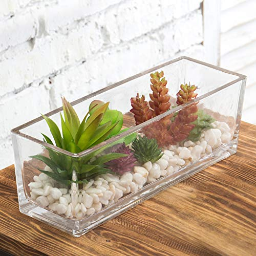 MyGift Kunstpflanze Sukkulenten-Arrangement in Glasvase, 30,5 cm