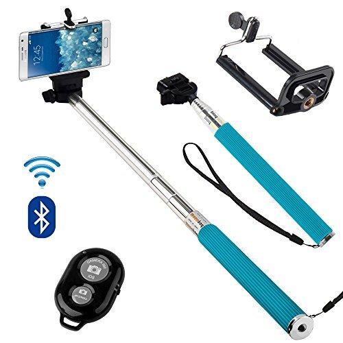 N4U Online - Sony Xperia Z3 Kompakte Erweiterbar Selfie-stab Stick-einbeinstativ Mit Verstellbarem Handy Halter and Bluetooth Remote Kabellos Verschluss - Blau (Erweiterbar Remote)