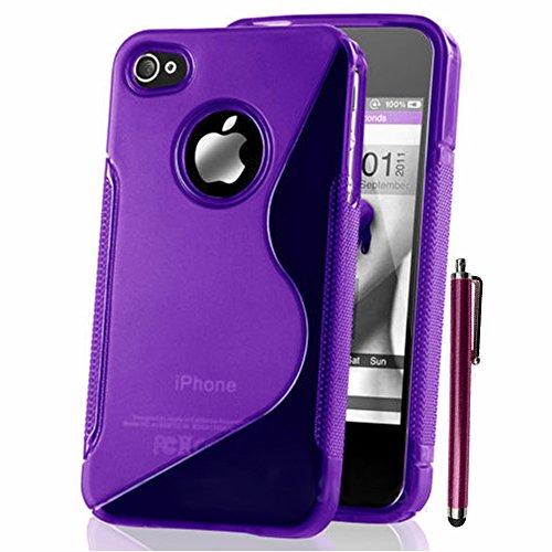 VComp-Shop® S-Line TPU Silikon Handy Schutzhülle für Apple iPhone 4/ 4S/ 4G + Großer Eingabestift - TRANSPARENT VIOLETT + Großer Eingabestift