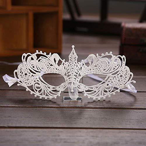 Ladies Sexy Fuchs Spitze Ausgehöhlte Maske Für Halloween Masquerade Ball Woman Es Kostümball Fancy-Kleid,White