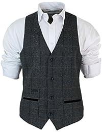 Gilet homme vintage tweed à carreaux et chevrons marron tan gris charbon coupe cintrée bordure en velours