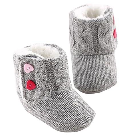 Chaussons Bébé Filles Bottes Chaud Souple Mignon Coton, QinMM Doux Bouton Démarrage Enfant Prémarche Chaussures (Mois 6-12, Gris)