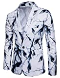 Modisch Herren Anzug Jacke Slim Fit Sakko Blazer Modernas Lässig Business Freizeit Smoking Einfarbig Weihnachten Festliche Sakko 48 56 (Color : Weiß, Size : XL)