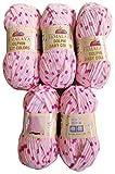 5 x 100 Gramm Babywolle 80402 pink rosa flieder, 500 Gramm Wolle Super Bulky zum Stricken und Häkeln