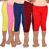 #7: Aloft Girls Muliticolor Plain Cotton Knee Length Leggings (Pack of -5pcs)