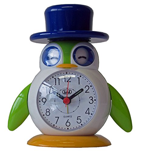 Trevi 3045 - Lilla y Lallo - Reloj despertador de diseño infantil en forma de pájaro – Color azul y verde