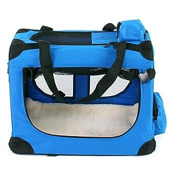 TRESKO® Boîte de transport pliable pour chiens, chats, chiots, animaux domestique, Sac de transport de voiture, pliable, diverses couleurs et tailles au choix Bleu XL 80 x 55 x 58 cm