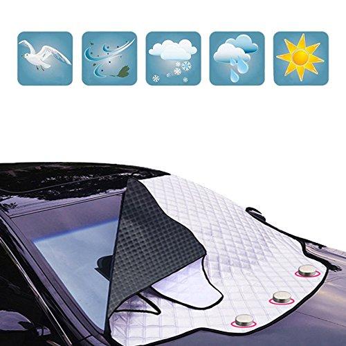 Windschutzscheibe Abdeckung Auto Windschutzscheibe für Winter Schneeräumung Sonnenschirm Eisfolie Frost Staubschutzfolie Universal Fit Magnetische Anti-Theft Wischtücher (193 * 157 * 126 CM)