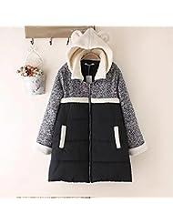 QIANQIAN Invierno de las señoras XL plus fertilizante con capucha algodón paño de lana larga gruesa la capa de abajo , big yards xl , black