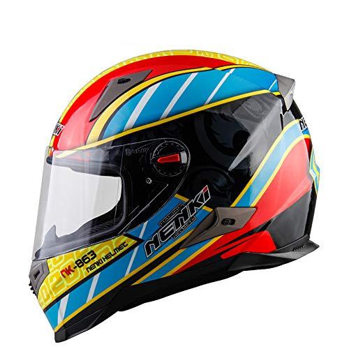 HXZM Motociclo Impact Modular Casco Certificazione ECE-YEMA YM-925 Full Face Racing Casco da Motociclista con Visiera Solare Uomo Adulto e Casco da Donna,XXL63~64cm