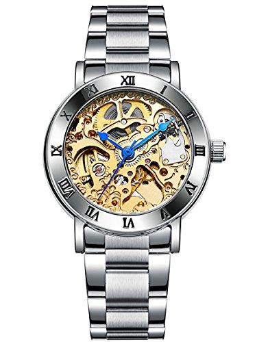 Alienwork mechanische Automatik Armbanduhr Skelett Automatikuhr Uhr Damen Uhren Herren modisch Metall gold silber 40005G-02