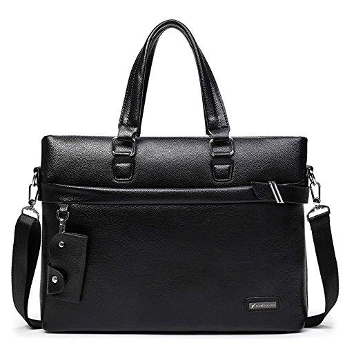 """JXXDDQ Herren Reißverschluss PU Leder Kleine Messenger Bag 13 """"Laptop Aktentasche Satchel Schulter Handtasche Bookbag mit Gurt (Farbe : Schwarz)"""
