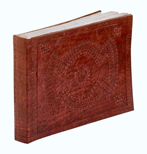 –souvnear Echte Handarbeit Leder Tagebuch/Personal Notizbuch in Antik Zimt Braun–25,4x 17,7cm geprägtes Leder Journal (Office-halloween-deko-ideen)