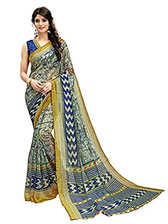 Glory Sarees Women's Bhagalpuri Art Silk Saree(vnart35_Blue)