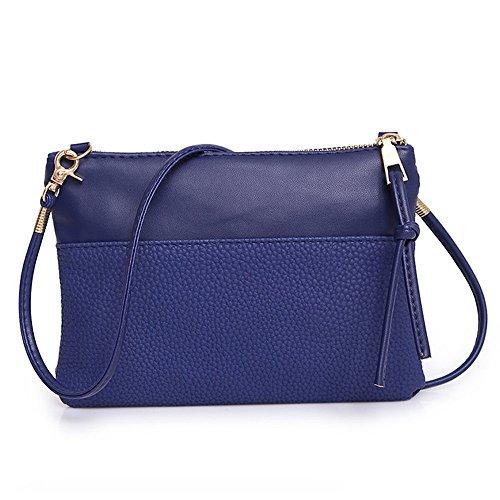 Piebo Handtasche Damen Umhängetasche Schultertasche Retro Strand Elegant Tasche Mädchen Reisetasche Frauen Mode Make-up Kulturtasche Schminktasche (Blau-20X2X15cm) -