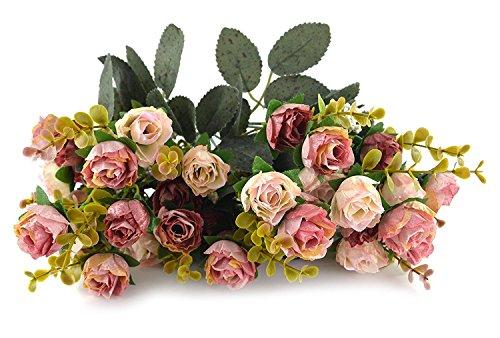 Fiori secchi e confezione da 21 pezzi, in seta, a forma di rose, finto bouquet, matrimonio, decorazione per la casa, confezione da 2 pezzi, color rosa e caffè - 4