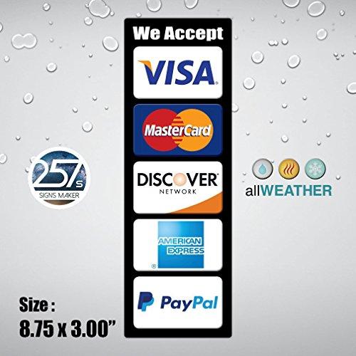 AllWeather Wir akzeptieren Kreditkarte Vinyl Aufkleber Visa Master AE PayPal Kasse Store Tür POS